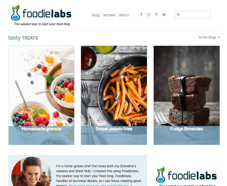 FoodieLabs gives you this homepage as soon as you signup and start a food blog.